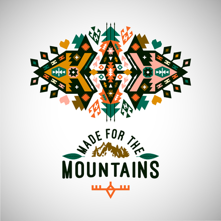 Tribal Navajo style vector ornamental geometric logo set