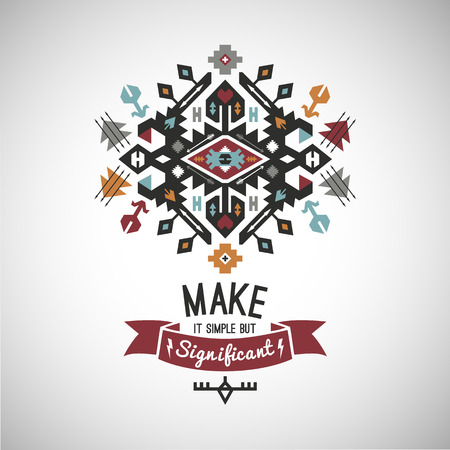 Colorful tribal Navajo style vector ornamental geometric logo set Illustration