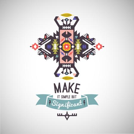 カラフルな部族ナバホ ベクター装飾の幾何学的なロゴ