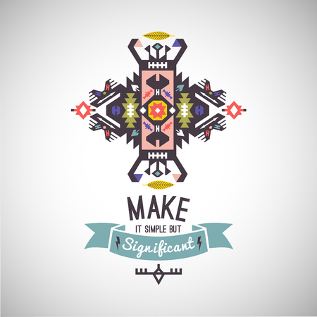 Colorful tribal Navajo vector ornamental geometric logo
