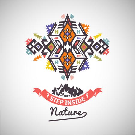 Colorful tribal Navajo vector ornamental geometric logo