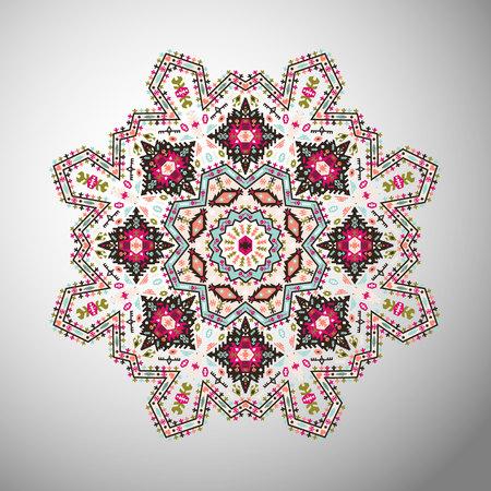 Ornamental round colorful geometric pattern in aztec style Stok Fotoğraf