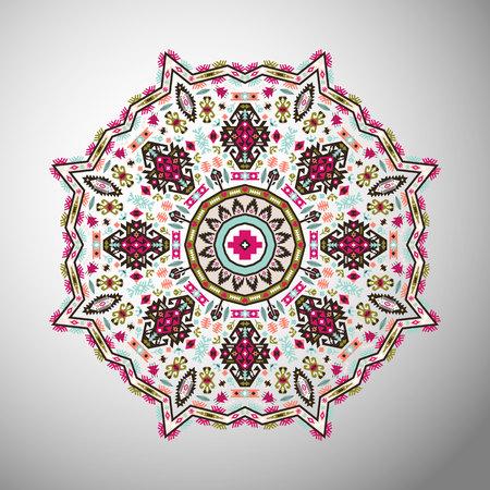 Ornement rond motif géométrique coloré dans le style aztèque Banque d'images - 83845923