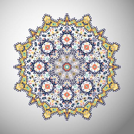 Ornamental round colorful geometric pattern in aztec style Çizim