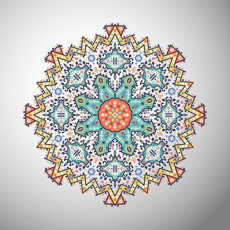 Ornement rond motif géométrique coloré dans le style aztèque Banque d'images - 85630657
