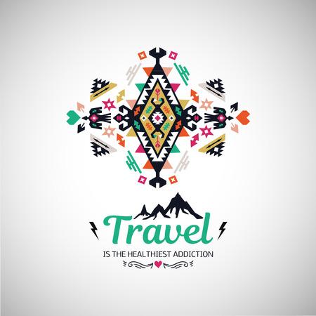 Tribal geometric travel poster. Иллюстрация