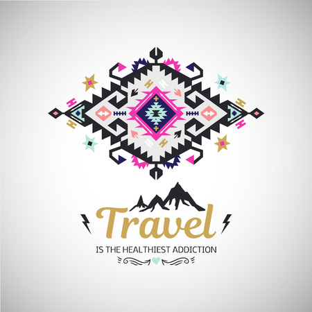 hand print: Fancy abstract geometric vector simbol in tribal style
