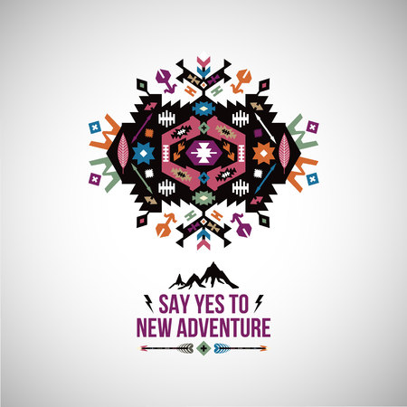 Fancy abstract geometric vector symbol in tribal style