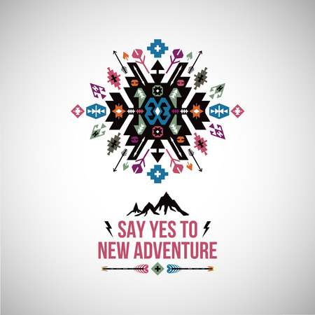 Fancy abstract geometric vector simbol in tribal style