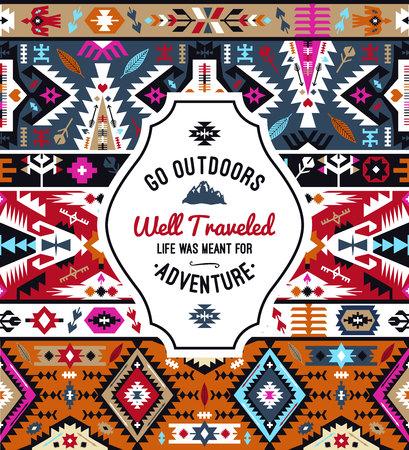 Fancy colorful geometric vector pattern in tribal style