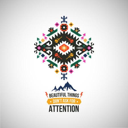 Símbolo geométrico abstracto colorido en estilo tribal Foto de archivo - 87662189