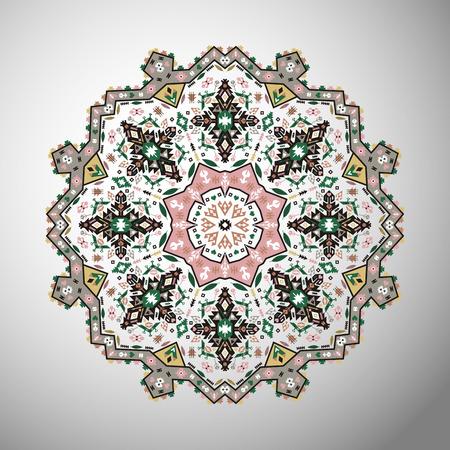 カラフルな観賞用ラウンド アステカ スタイルにカラフルな幾何学模様  イラスト・ベクター素材