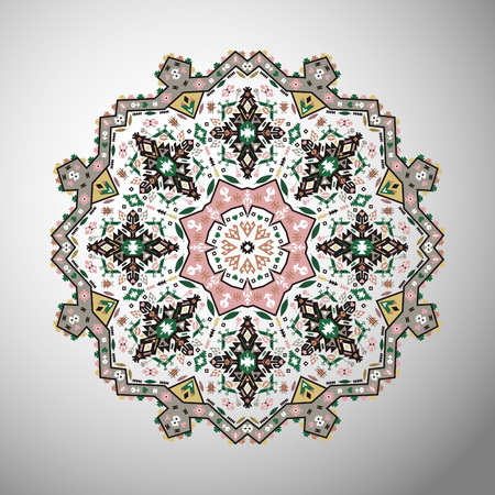 Ornamental colorful round colorful geometric pattern in aztec style Ilustração