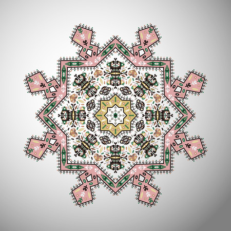 Ornamental colorful round colorful geometric pattern in aztec style Фото со стока - 87892004