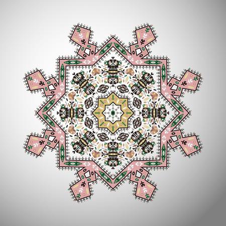 Ornamento colorato rotondo colorato modello geometrico in stile azteco Archivio Fotografico - 87892004