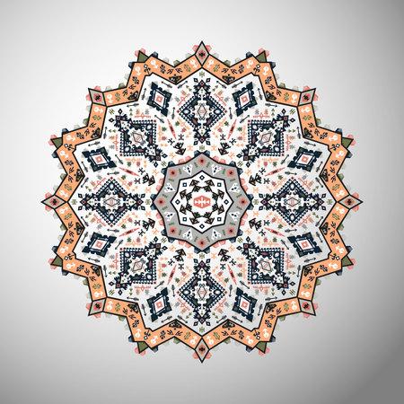 Ornamental round colorful geometric pattern in aztec style Иллюстрация