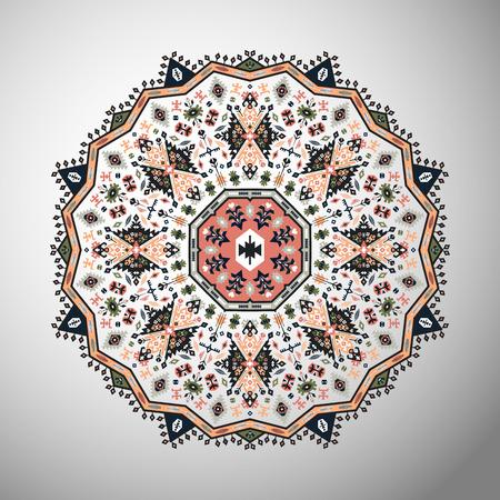 Ornamental round colorful geometric pattern in aztec style Ilustração