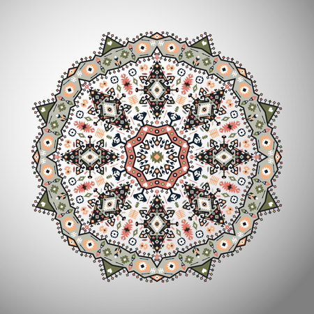 Ornamental round colorful geometric pattern in aztec style Иллюстрация