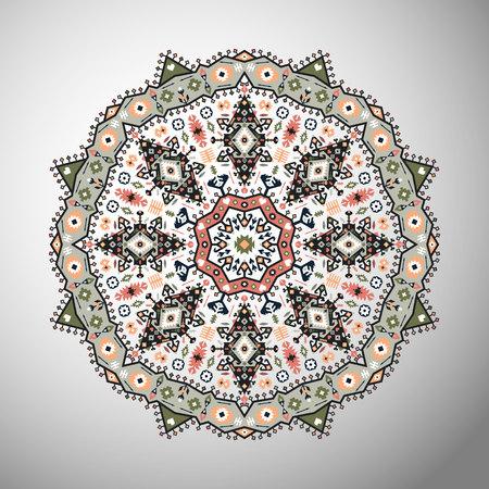 Ornamento rotondo colorato modello geometrico in stile azteco Archivio Fotografico - 88108193