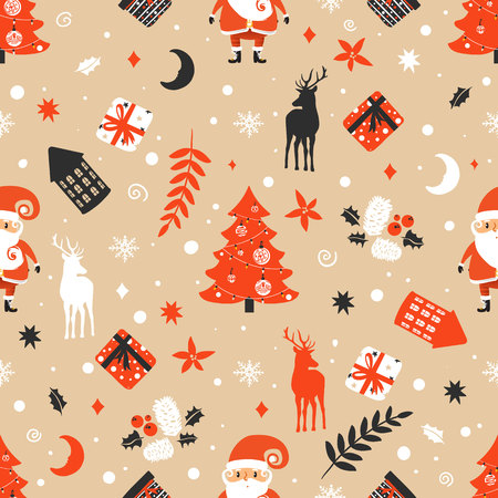 Merry Christmas seamless pattern with Santa Claus Illustration