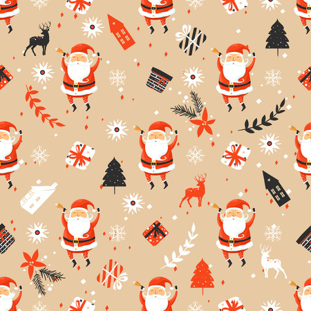 Merry Christmas seamless pattern with Santa Claus Çizim