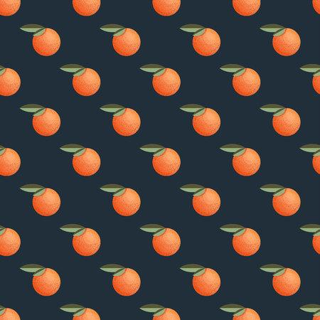 레트로 스타일의 만다린과 원활한 패턴 일러스트