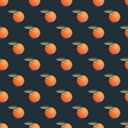 Seamless pattern with mandarin in retro style