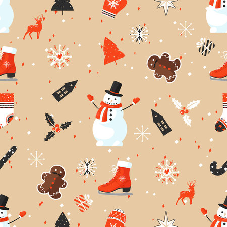 Stylish Merry Christmas seamless pattern with Snowman