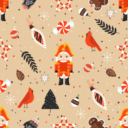 Stylish Merry Christmas seamless pattern with Nutcracker and toy Stock Photo