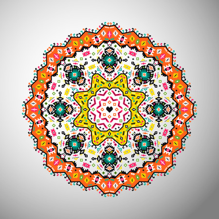 Ornamental round bright geometric pattern. Mandala in aztec style Banque d'images - 124361992