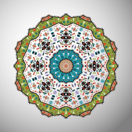 Ornamental round colorful geometric pattern in aztec style Illustration