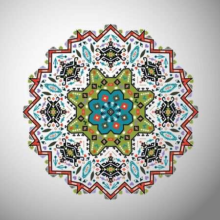 Ornamental round colorful geometric pattern in aztec style Çizim