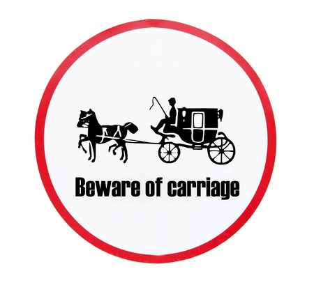 beware of carriage white background photo
