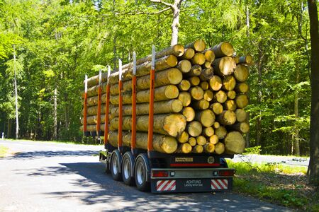 Fully loaded truck trailer with wooden pallets without truck in a parking lot Stock Photo
