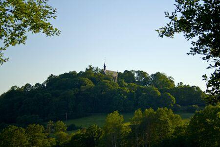The monastery Volkersberg on a mountain in Bavaria, Germany 版權商用圖片