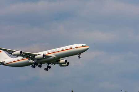 COLOGNE-BONN, NORTH RHINE-WESTPHALIA, AIRPORT, GERMANY - AUGUST 28, 2019 Germany Air Force Airbus A340 registration 16-02 landing at Cologne-Bonn Airport Editorial