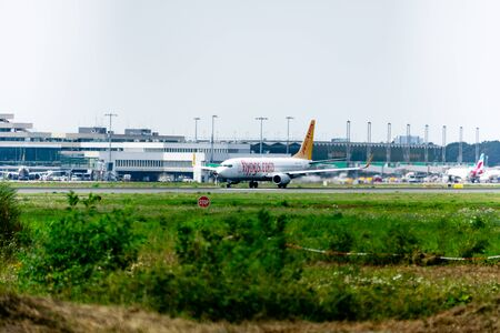 COLOGNE-BONN, NORTH RHINE-WESTPHALIA, AIRPORT, GERMANY - AUGUST 28, 2019, Pegasus Airlines Boeing 737-800 starts at Cologne Bonn Airport in Germany, Pegasus Airlines is a low-cost airline of Turkey. Editorial