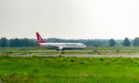 COLOGNE-BONN, NORTH RHINE-WESTPHALIA, AIRPORT, GERMANY - AUGUST 28, 2019 Turkish Airlines Boeing 737-800 landing at Cologne Bonn airport, germany. Turkish Airlines is a company in Istanbul Turkey