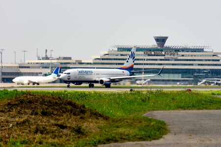 COLOGNE-BONN, NORTH RHINE-WESTPHALIA, AIRPORT, GERMANY - AUGUST 28, 2019, SunExpress Airlines Boeing 737-800 takes off at Cologne Bonn airport. SunExpress is a Turkish airline based in Antalya, Turkey. Editorial