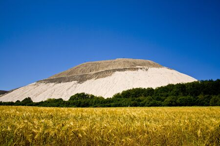 An artificial mountain where potassium is mined behind a yellow cornfield in Hesse, Germany