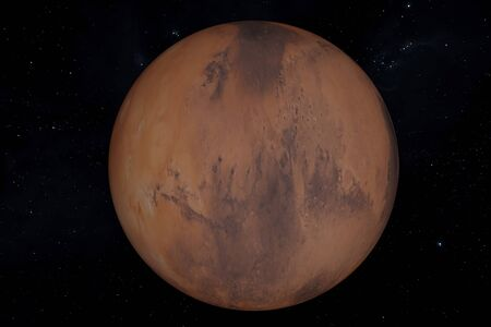 3d Illustration of the Planet Mars on a star background.