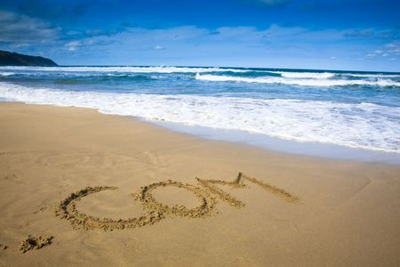 web commerce: segno di societ� Internet disegna sulla spiaggia
