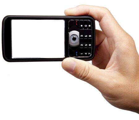 mobile voip: hand holding camera mobile phone isolated on white background