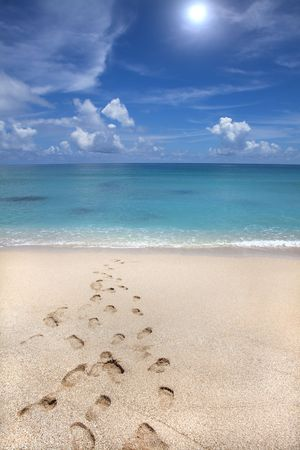 summer time on beach and footprint photo