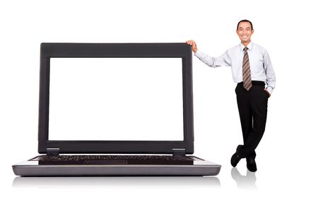 full frame: asian businessman standing by  computer isolated on white background