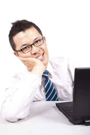 smiling young businessman  with computer Stock Photo - 7562579