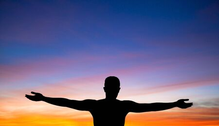 a silhouette of a man on background of beautiful sunset Stock Photo - 7562580