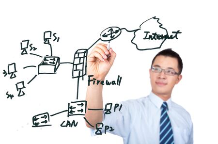 young computer Engineer drawing a internet network diagrame Stock Photo - 7562588