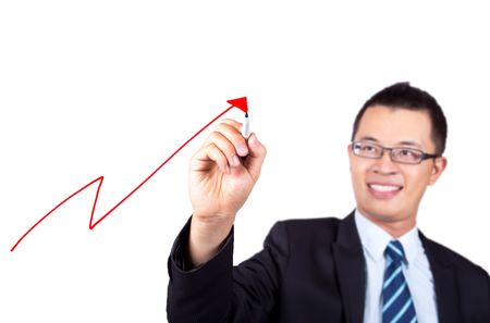 business woman drawing a profit graph  Stock Photo - 7562582
