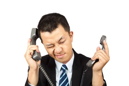 businessman busy and tired on the phone photo